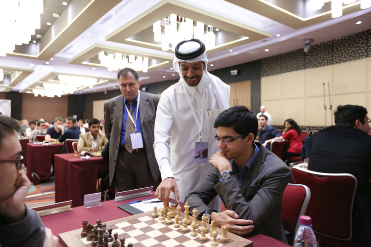 Playing hall, first move is being made in Giri-Antipov